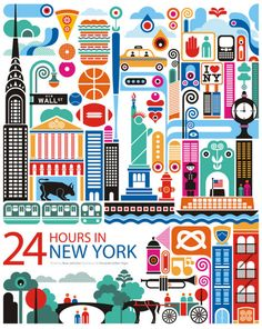 24 Hours in New York graphic design art illustration poster New York Poster, City Poster, Design Poster, Art Design, Graphic Design, Door Design, Graphic Art, New York Illustration, Graphic Illustration