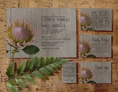 Rustic Protea Wedding Invitation Set/Suite by InvitationSnob