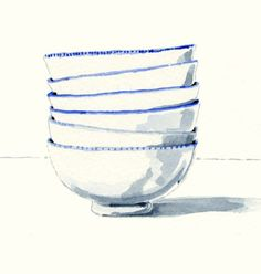 Still Life Kitchen Decor Print of Original Watercolor - Blue and White Bowls A print of one of my original watercolor paintings. Watercolor Books, Watercolor Print, Watercolor Illustration, Watercolour Painting, Indigo Spirit, Kitchen Art, Life Kitchen, Kitchen Decor, Leather Bags Handmade