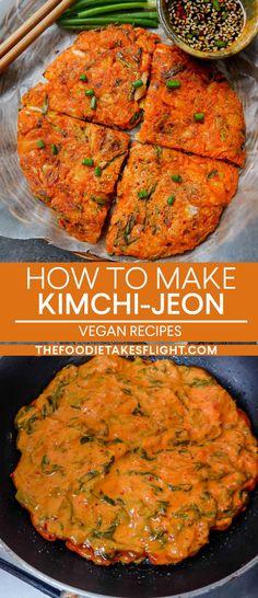 2 Korean Savoury Pancake Recipes: Pajeon and Kimchi-jeon (Vegan) Savoury Pancake Recipe, Savory Pancakes, Pancake Recipes, Kimchi Pancakes, Vegan Recipes Easy, Asian Recipes, Cooking Recipes, Healthy Korean Recipes, Asian Desserts