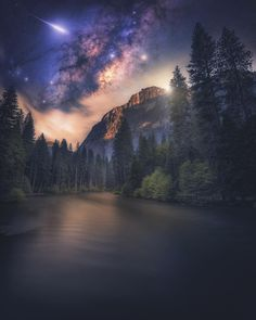 Here is a image I made from one of my shots taken on a backpacking trip in Yosemite last summer. Hope you enjoy it! Night Sky Stars, Night Skies, National Parks Usa, Yosemite National Park, Nocturne, Wallpaper Gratis, Jolie Photo, Milky Way, Landscape Photos