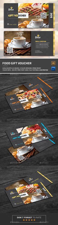 Modern Gift Card Certificate   Voucher Template PSD Download here - food voucher template