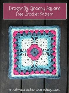 Dragonfly Granny Square - Free Crochet Pattern | Creative Crochet Workshop