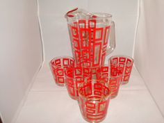 Vintage Retro Glass Pitcher with Set of 5 by GirlPickersTwo, $41.00