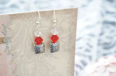 Red and White Small Earrings by KaliKJewelry on Etsy, $6.95