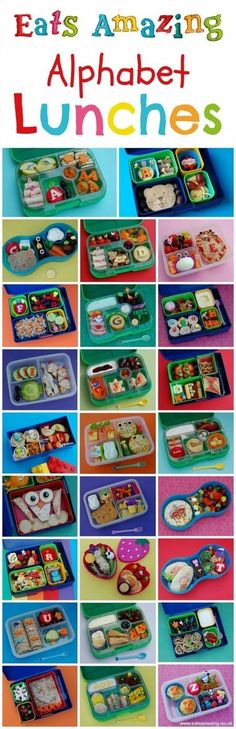 Healthy Food for Children - Complete set of Alphabet Themed Bento School Lunch Ideas from Eats Amazing UK - Learn while you eat!