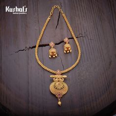Jewelry OFF! Elegantly crafted necklace studded with ruby stones and plated with polish Gold Mangalsutra Designs, Gold Earrings Designs, Necklace Designs, Gold Necklace Simple, Gold Jewelry Simple, Necklace Set, Ruby Necklace, Trendy Jewelry, Gold Temple Jewellery