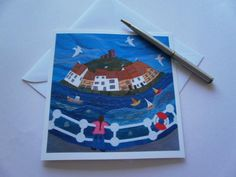 Whitby Harbour Textile Art Greeting Card