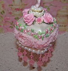 Pink Victorian Christmas Ornaments   Shabby Victorian Pearl Glass Christmas Ornament Pink Roses Pearls Pink ...