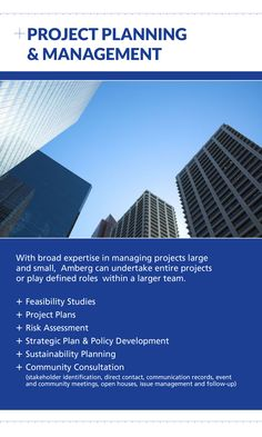 Contact Amberg for Project Planning and Management at (403) 247-3088 or visit us online at www.amberg.ca
