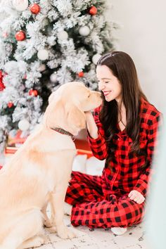 What's cuter than a golden retriever puppy at Christmas? Click through for more pictures and Christmas card photo ideas, plus tree decor and buffalo plaid pajama details, from southern lifestyle blogger and golden retriever dog mom Stephanie Ziajka from D