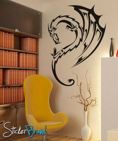 Vinyl Wall Decal Sticker Dragon Wing Fairytale #KRiley102 | Stickerbrand wall art decals, wall graphics and wall murals.