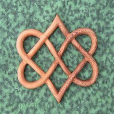 Stylized Knot of Four Hearts-Celtic Wood Carving for Love and Relationships made of Western Red Cedar by Coop and Katrina of Signs of Spirit, Magnolia, Texas:  Art Fire