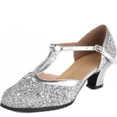 bd2cdd0aef6afe Women s Dance Shoes Sandals Paillette Low Heel Gold Silver  00008