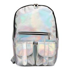 Holographic Backpack ($40) ❤ liked on Polyvore featuring bags, backpacks, accessories, fillers, hologram bag, knapsack bags, holographic bag, hologram backpack and holographic backpack