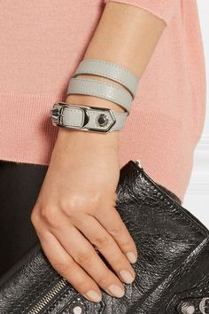 Balenciaga - Triple Tour Textured-leather And Silver-tone Bracelet - Light gray - Balenciaga Bracelet, Balenciaga Bag, Cartier Love Bracelet, Bangles, Bracelets, Studs, Pairs, Shoulder Bag, Texture