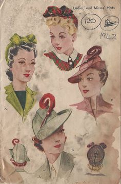 "1942 Vintage Sewing Pattern HAT S22"" (120) #McCall"
