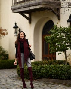 burgundy scarf and boots with gray jeans
