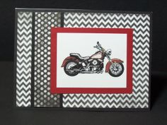 HANDMADE STITCHED HARLEY DAVIDSON MOTORBIKE FATHERS DAY CARD OR BIRTHDAY CARD