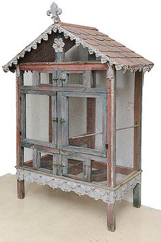 French Vintage Bird Cage with Slate Tiles Roof and Tole Decor