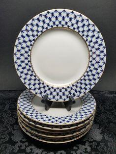 Lot of 6 - Authentic Russian 22k Gold Lomonosov COBALT NET 9 5/8\  Dinner Plates & 1 Minton Shell Pink \u0026 Gold Swirl 10.75\