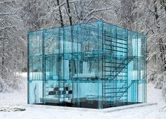 glass house series by santambrogiomilano via www.Facebook.com/DesignBoomNews      maybe its inhabitants still shouldn't throw stones, but 'snow house' is built of thick paneled load-bearing glass for insulation and to withstand the weight of snow.    see more: http://www.designboom.com/architecture/carlosantambrogio-glass-house-series/