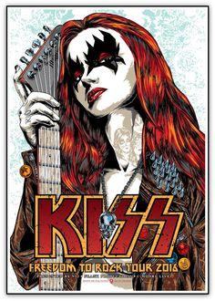 """KISS - Freedom to Rock Tour 2016"" door STRAIFE01. 20 ""x 28"" Giclee. Ed van 175 S / N. $ 26"