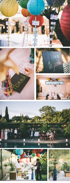 Lampions de couleurs + plan de tables