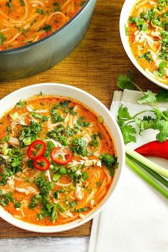 Spicy Thai Chicken Noodle Soup Skip the takeout! This delicious Thai Chicken Noodle Soup is easy to make at home with ingredients you can find in your local supermarket. If you love Thai food, you need to try this recipe! Thai Chicken Noodles, Thai Noodle Soups, Spicy Thai Noodles, Spicy Thai Chicken Soup, Spicy Soup, Coconut Curry Soup, Rice Noodles, Spicy Thai Noodle Soup Recipe, Soup With Rotisserie Chicken