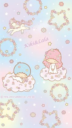 Little Twin Stars Sanrio Wallpaper, Star Wallpaper, Hello Kitty Wallpaper, Kawaii Wallpaper, Little Twin Stars, Little Star, Little Pony, Sanrio Characters, Cute Characters