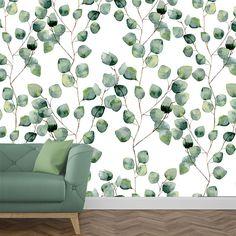 894f1f3f6d537 papier peint eucalyptus décoration intérieure salon style scandinave  ambiance jungle minimaliste élégant Papier Peint Nature