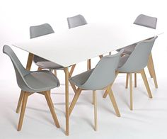 Charles Jacobs Dining Table with Six Grey Chairs Set Solid Wood Oak Legs and White Matt Gloss Table Top New 2015 Cushioned Contemporary Design for Extra Comfort, Modern Lounge Furniture - Premium Quality