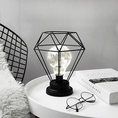 Decorative Retro Geometric Table Lamp With Drum Shade Bedside Home Lighting Night Lights Battery Powered Retro Iron Geometric Decorated Led for ucwords] Room Ideas Bedroom, Diy Bedroom Decor, Cute Room Decor, Gold Room Decor, Aesthetic Room Decor, Dream Rooms, Drum Shade, Home Lighting, My Room