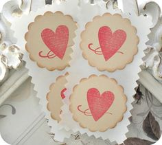 Vintage Inspired Heart Label Stickers / by LittlePaperFarmhouse, $4.95