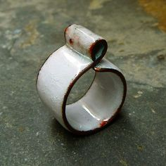 Fired Enamel on Copper Ring. Glossy White Colour by MNesmalts