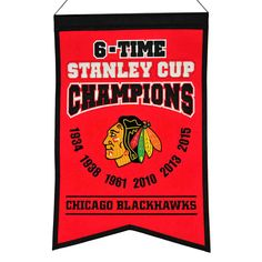 "This 14"" x 22"" beautifully embroidered banner commemorates the Chicago Blackhawks six Stanley Cup championships."