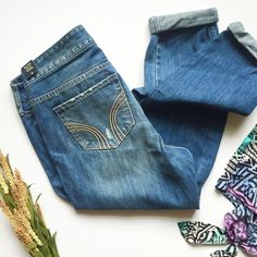 Hollister Easy Fit Boyfriend Jeans NWT • Size 9 Regular Length, W 29 • trendy pair of medium blue denim with fading & whiskering style • light distressing on back pockets • comfortable & relaxed fit • Ombré Tribal Print Blouse is also for sale • Accepting reasonable offers! Hollister Jeans Boyfriend