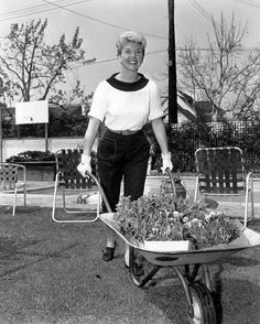 Doris Day at home in her garden
