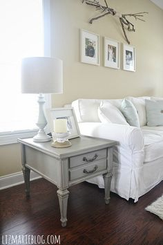 Mountain smoke end table makeover & a gorgeous neutral living room - lizmarieblog.com With the PERFECT gray paint!