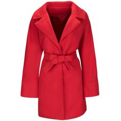 Lapel Removable Tie Plain Woolen Wrap Coat (£28) ❤ liked on Polyvore featuring outerwear, coats, red coat, woolen coat, lapel coat, red wool coat and wool coat