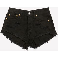 Keepers Cheeky Black Cut Off Shorts ❤ liked on Polyvore featuring shorts, bottoms, short, cut off short shorts, short shorts and cut-off shorts