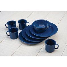 Blue Graniteware GSI Outdoors 12 Piece Enamelware Sierra Table Set