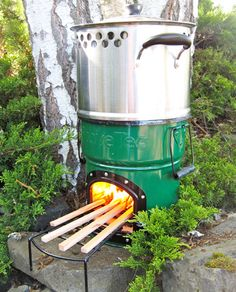 Stove-Tec in Eugene makes these really cool cook stoves that burn any biomass that you feed it.