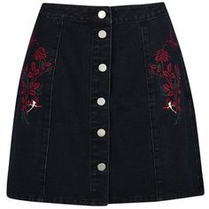 Boohoo Alexis Button Through Embroidery Denim Skirt (59 BRL) ❤ liked on Polyvore featuring skirts, pleated maxi skirt, pleated skirt, denim maxi skirt, circle skirts and mini skirt