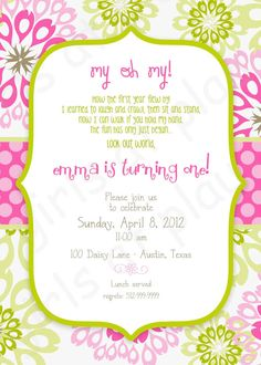 Love these for alelas invites Modern First Birthday Girl Invitation Pink Green Floral Dots - Print By You - by girls at play girlsatplay Baby Girl First Birthday, First Birthday Parties, First Birthdays, Birthday Ideas, Kid Parties, Pink Invitations, Birthday Invitations, Cupcake Party, Party Ideas