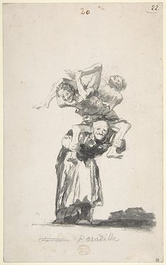 Goya (Spanish, 1746–1828). Nightmare; Witches and Old Women;  Album (D), page 20, ca. 1819–23. The Metropolitan Museum of Art, New York. Rogers Fund, 1919 (19.27) #witches #Halloween