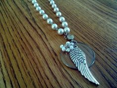 white angel wing Optical lens pendant necklace test faux pearl beads steampunk victorian industrial  upcycled recycled antique monocle gift