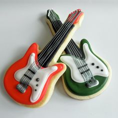 """7"""" Guitar Cookies By @CookiesMiami From Couture Confections"""