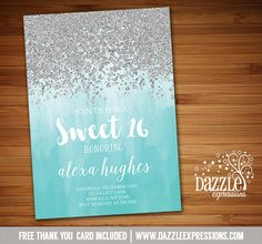 Printable Silver Glitter and Turquoise Ombre Birthday Invitation | Sweet 16 | Aqua Blue, Mint | ONEderland | Winter Snowflake | Wonderland | December and January Girls Birthday Party for any age! | Rustic | Baby Shower | FREE thank you card included | Printable Matching Party Package Decorations Available! Banner | Signs | Labels | Favor Tags | Water Bottle Labels and more! www.dazzleexpressions.com