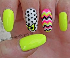 Summer Nails in neon green.instead of the chevron pattern I would choose a sparkle, but i love the neon bow!